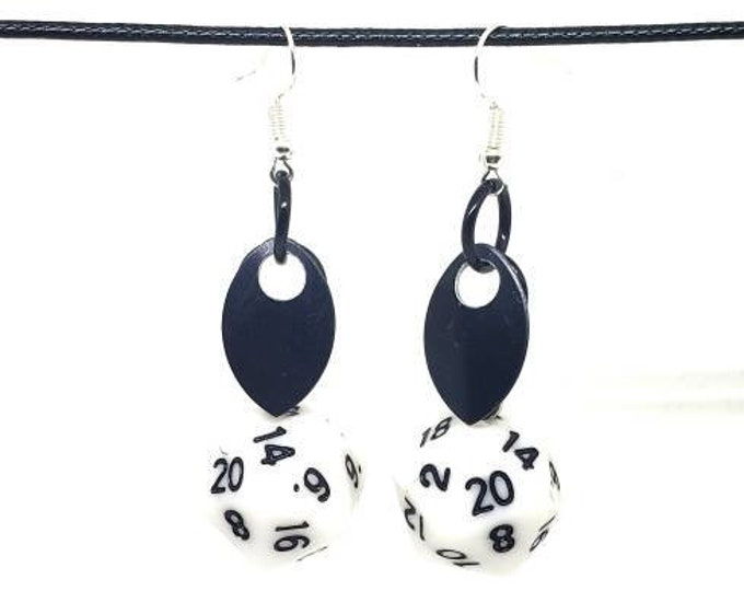 Scale of the Black Dragon Nat 20 Earrings - D20 Earrings - D&D Earrings - DND Earrings - Dice Earrings