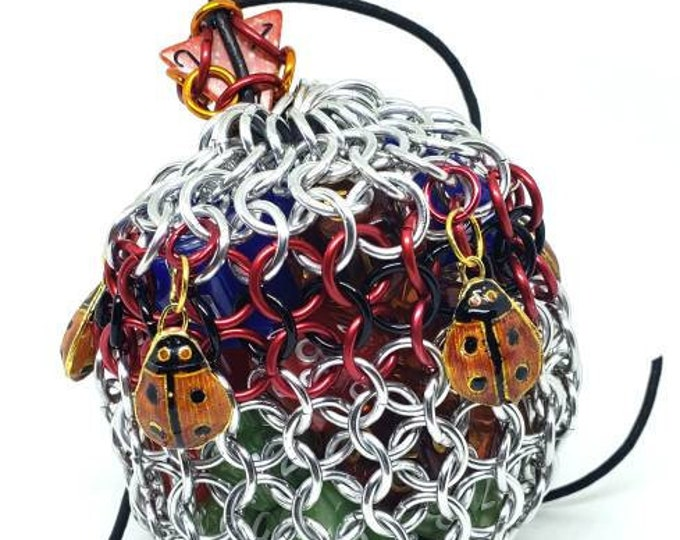 Red and Black Ladybugs Medium Chainmaille Dice Bag | Dice Pouch | Coin Purse - Chainmail