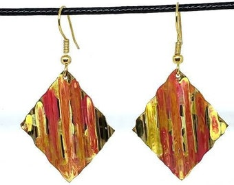 Hand Painted Autumn Colors Copper Earrings- One of a Kind