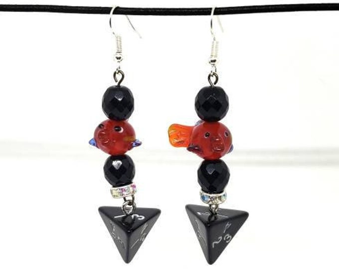 Fish Companion D4 Earrings - D&D Earrings - DND Earrings - DnD Dice - Dice Earrings