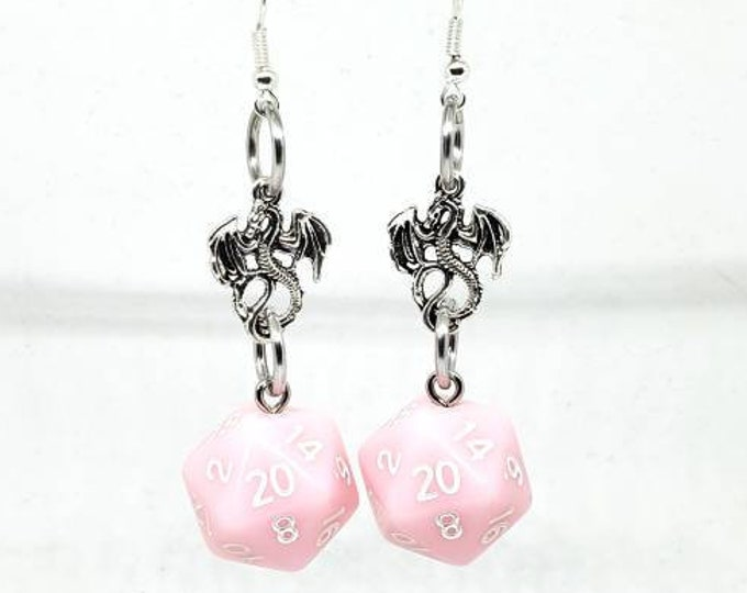 Pastel Pink Dragon Nat 20 Earrings - D20 Earrings - D&D Earrings - DND Earrings - Dice Earrings - Pink Dice