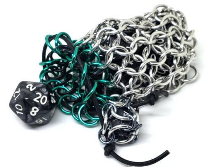 Mermaid Green, Black and Silver Single Set Chainmaille Dicebag - Holds One Set of Dice -  Handmade - Chainmail