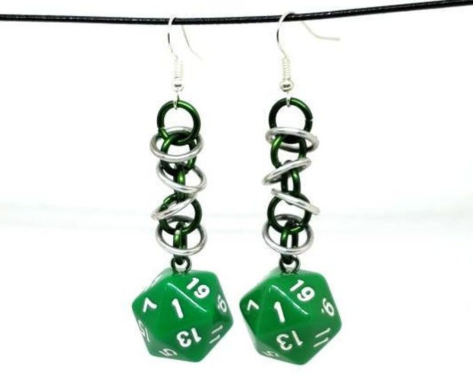 Bright Green Orbital Nat 1 Earrings - D20 Earrings - D&D Earrings - DND Earrings - Dice Earrings