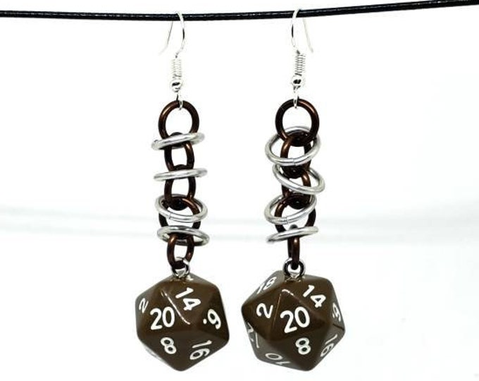Brown Orbital Nat 20 Earrings - D20 Earrings - D&D Earrings - DND Earrings - Dice Earrings