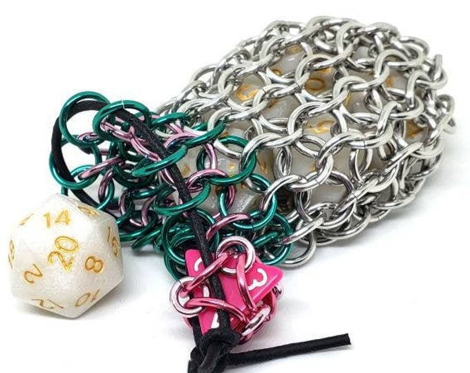 Mermaid Green, Pink and Silver Single Set Chainmaille Dicebag - Holds One Set of Dice -  Handmade - Chainmail