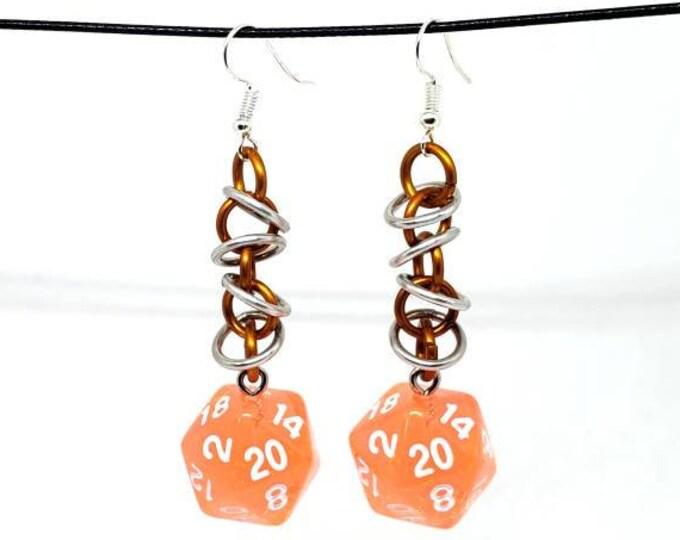 Bright Orange Orbital Nat 20 Earrings - D20 Earrings - D&D Earrings - DND Earrings - Dice Earrings