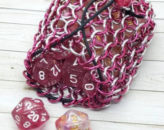 Hot Pink and Silver Limited Edition Medium Chainmaille Dice Bag | Dice Pouch | Coin Purse - Chainmail