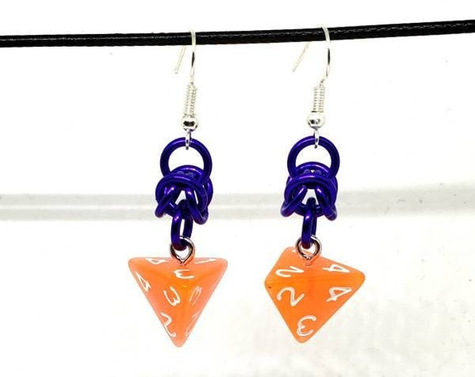 Bright Orange and Purple Dice Earrings - D4 Earrings - D&D Earrings - DND Earrings - DnD Dice