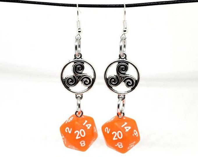 Forge Embers Celtic Charm Nat 20 Earrings - D20 Earrings - D&D Earrings - DND Earrings - DnD Dice - Dice Earrings
