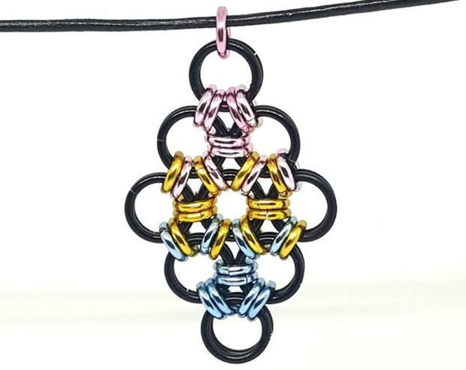 CLEARANCE Pansexual Pride Diamond Shaped Japanese Lace Pendant / Chainmaille Pendant / Pride Pendant