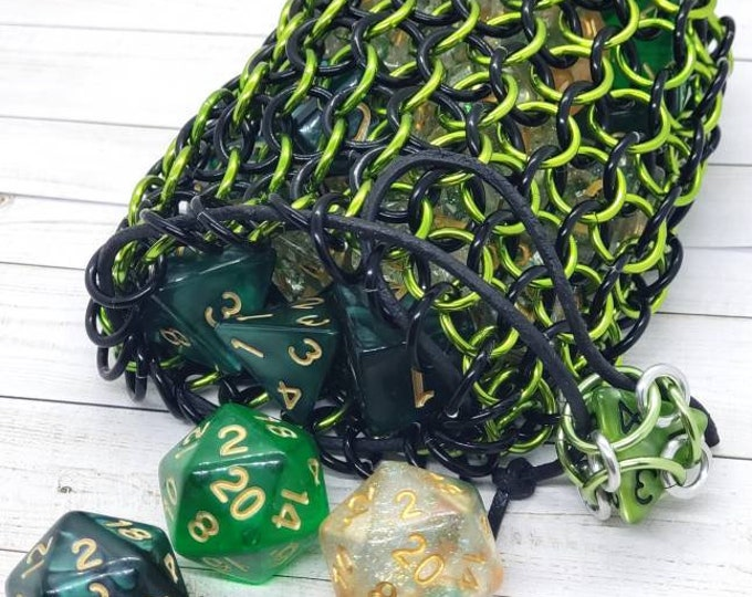 Slime Green and Black Limited Edition Medium Chainmaille Dice Bag | Dice Pouch | Coin Purse - Chainmail