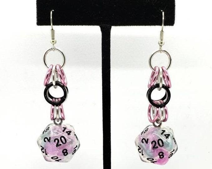 Ro Chrome Shaggy Nat 20 Earrings - D20 Earrings - D&D Earrings - DND Earrings - Dice Earrings