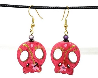 Pink with Gold One of a Kind Hand Painted Sugar Skull Earrings