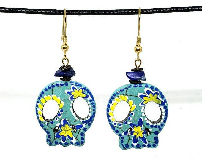 Blue and Yellow Vibrant Festive One of a Kind Hand Painted Sugar Skull Earrings