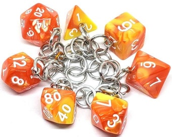 Solar Flare Swirl Polyhedral Dice Set Charm Bracelet - Dungeons and Dragons  Dice - DnD Dice