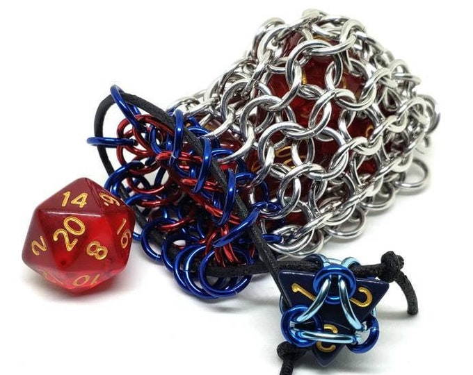 Blue, Red, and Silver Single Set Chainmaille Dicebag - Holds One Set of Dice -  Handmade - Chainmail
