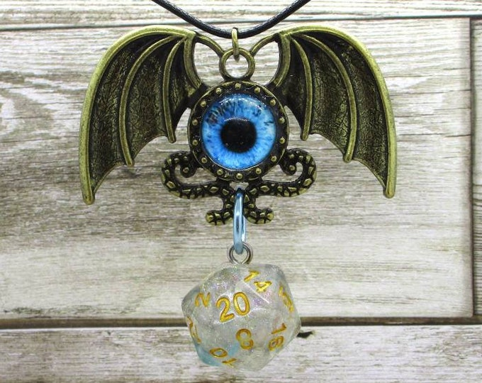 Evil Eye Nat 20 Pendant - Dungeons and Dragons Pendant - D&D Dice - Dice Pendant