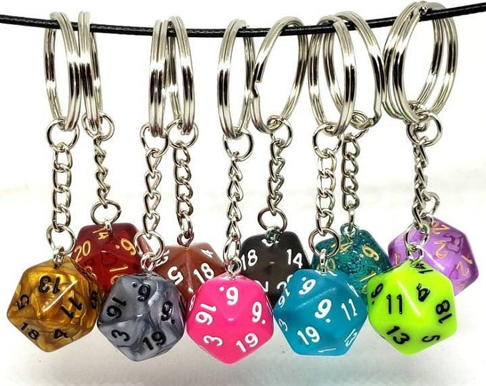 D20 Keychain or Necklace - Dungeons and Dragons Keychain - Dice - 20 Sided Dice - DnD Dice