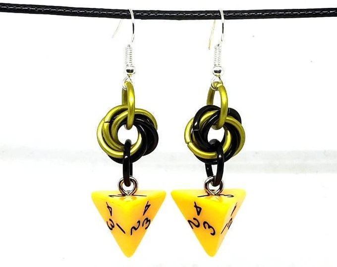 Yellow Opaque D4 Earrings - D&D Earrings - DND Earrings - DnD Dice - Dice Earrings