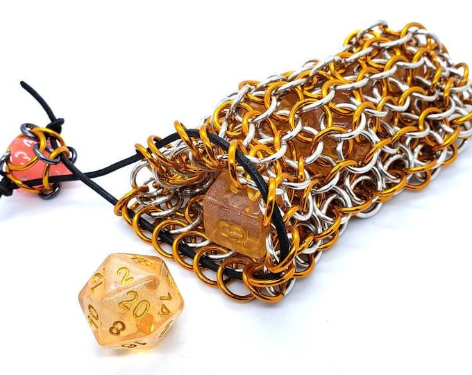 PREORDER Orange and Silver Leukemia Awareness Chainmaille Dice Bag -  Double Set Bag