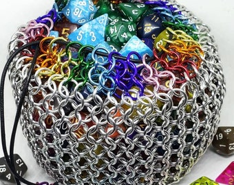 Rainbow Accent Behemoth Chainmaille Dice Sack | High Capacity | Giant Bag - Chainmail - MADE TO ORDER