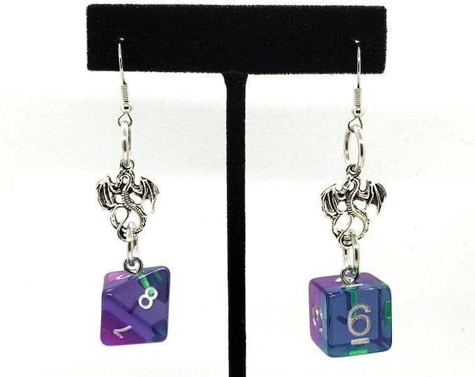 Mermaid Dragon Charm Dice Earrings - D6 and D8 Earrings - D&D Earrings - DND Earrings - DnD Dice