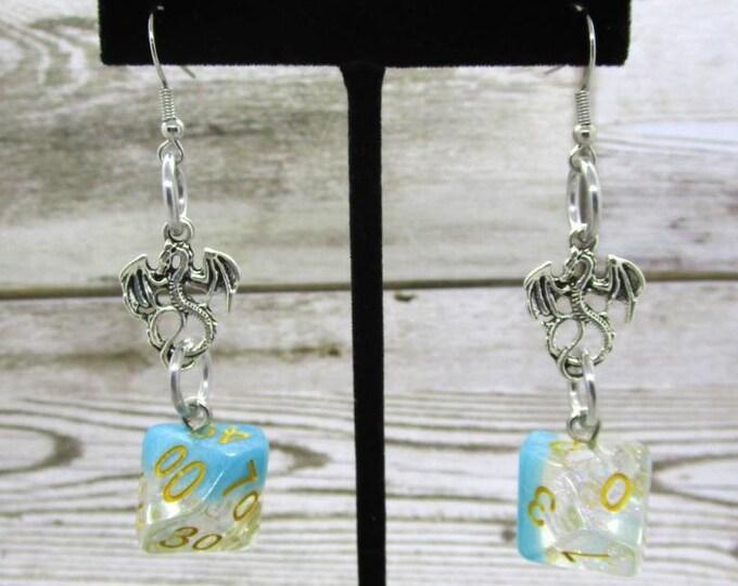 Snowfall Dice Earrings - Dragon Charm - D10 and D% Earrings - D&D Earrings - DND Earrings - DnD Dice