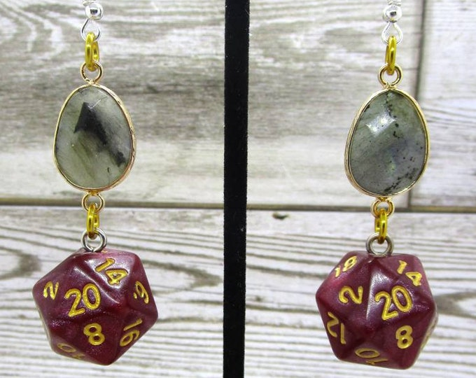 Labradorite and Red Shimmer Nat 20 Earrings - D20 Earrings - D&D Earrings - DND Earrings - Dice Earrings