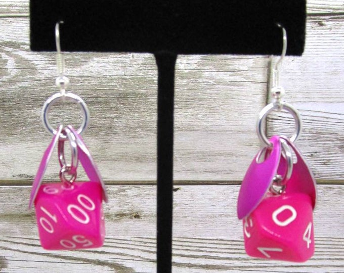 Wings of the Dragonberry Sprite Dice Earrings - D10 and D% Earrings - D&D Earrings - DND Earrings - DnD Dice