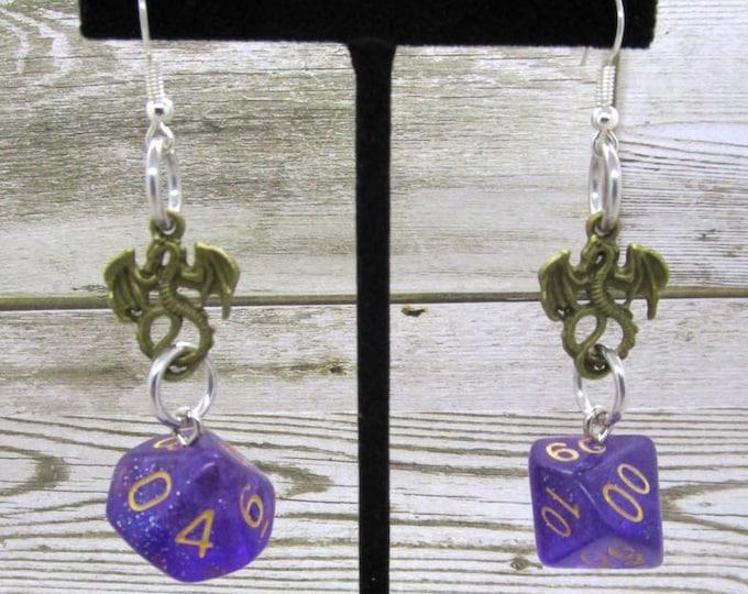 Midnight Nebula Dice Earrings - Dragon Charm - D10 and D% Earrings - D&D Earrings - DND Earrings - DnD Dice