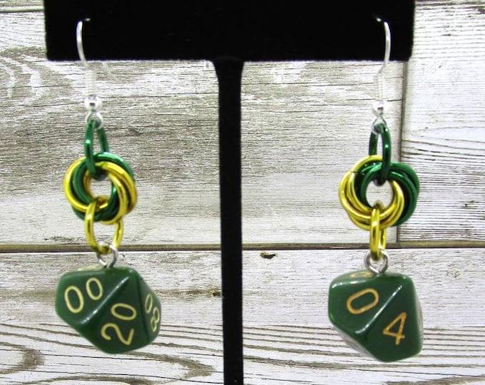 Blighted Grove Dice Earrings - D10 and D% Earrings - D&D Earrings - DND Earrings - DnD Dice