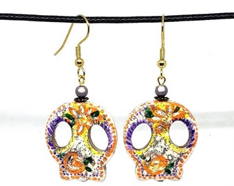 Multicolored Glittery Vibrant Festive One of a Kind Hand Painted Sugar Skull Earrings