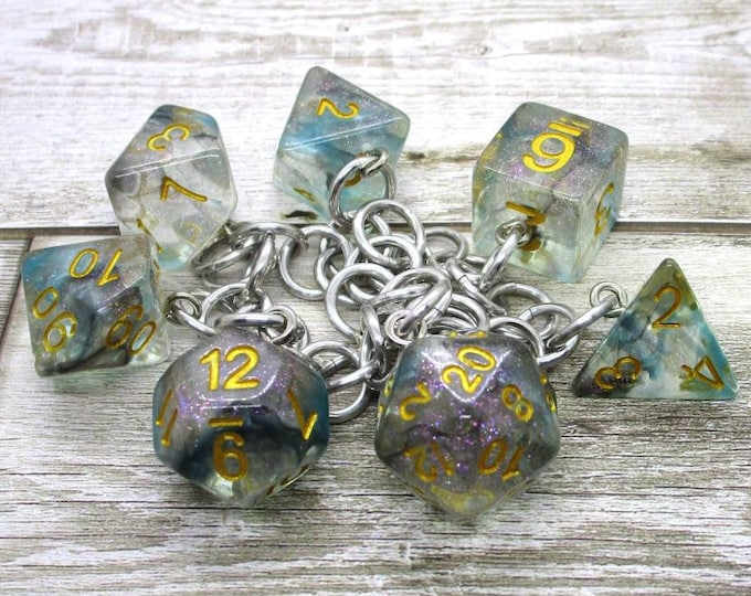 Luminous Shade Polyhedral Dice Set Charm Bracelet - Dungeons and Dragons  Dice - DnD Dice