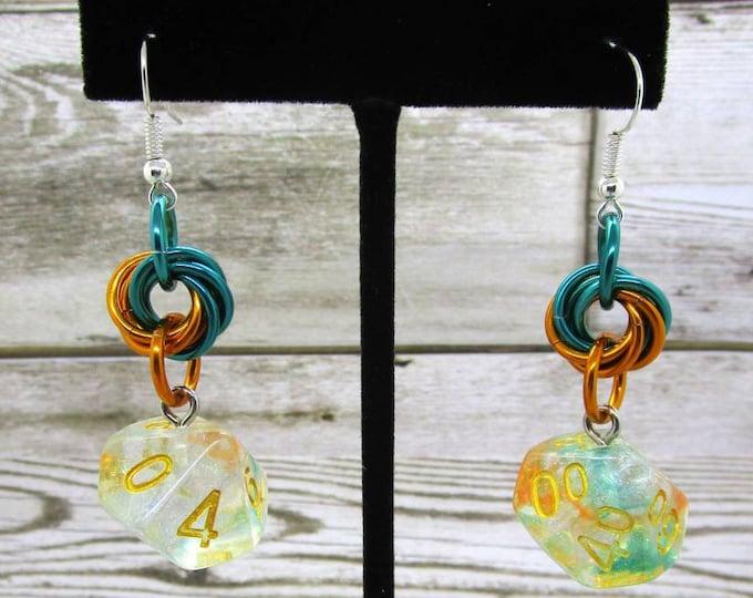Luminous Koi Dice Earrings - D10 and D% Earrings - D&D Earrings - DND Earrings - DnD Dice