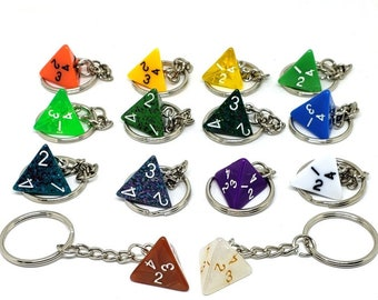 D4 Keychain or Necklace - Dungeons and Dragons Keychain - Dice - 4 Sided Dice - DnD Dice