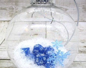 Snow Covered Mini Dice Christmas Tree Ornament - Dungeons and dragons Dice - DnD Dice