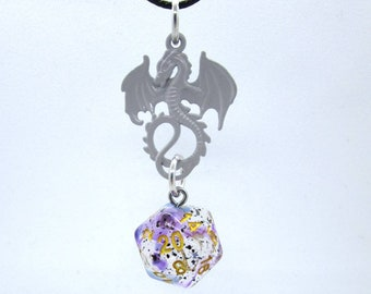 Pastel Purple Dragon Violet Sulfur Nat 20 Pendant - Dungeons and Dragons Pendant - D&D Dice - Dice Pendant
