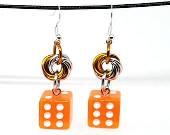 Translucent Orange and White Pipped Dice Earrings - D6 Earrings - D&D Earrings - DND Earrings - Yahtzee Dice - DnD Dice