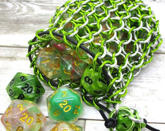Slime Green and Silver Limited Edition Medium Chainmaille Dice Bag | Dice Pouch | Coin Purse - Chainmail