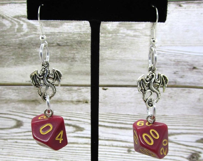 Crimson Queen Dice Earrings - Dragon Charm - D10 and D% Earrings - D&D Earrings - DND Earrings - DnD Dice