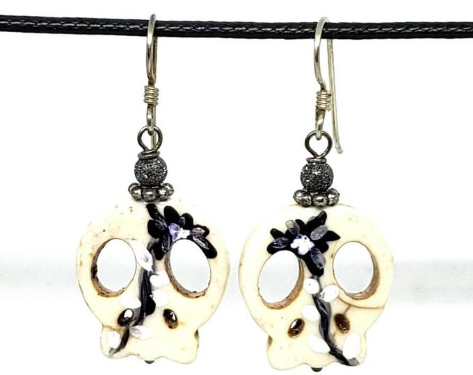 Off-white and Black One of a Kind Hand Painted Small Sugar Skull Earrings