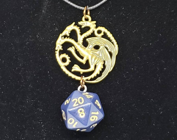 Three Headed Dragon Navy Blue Nat 20 Pendant - Dungeons and Dragons Pendant - D&D Dice - Dice Pendant