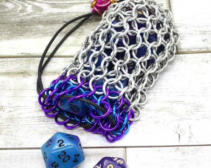 Violet and Turquoise Accent Silver Chainmaille Dice Bag -  Double Set Bag