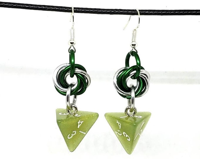 Sage Green Shimmer D4 Earrings - D&D Earrings - DND Earrings - DnD Dice - Dice Earrings