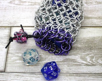 Poison Purple and Black Accent Silver Chainmaille Dice Bag -  Double Set Bag
