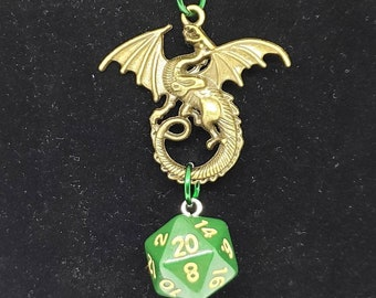 Bronze Tone Dragon Green Nat 20 Pendant - Dungeons and Dragons Pendant - D&D Dice - Dice Pendant
