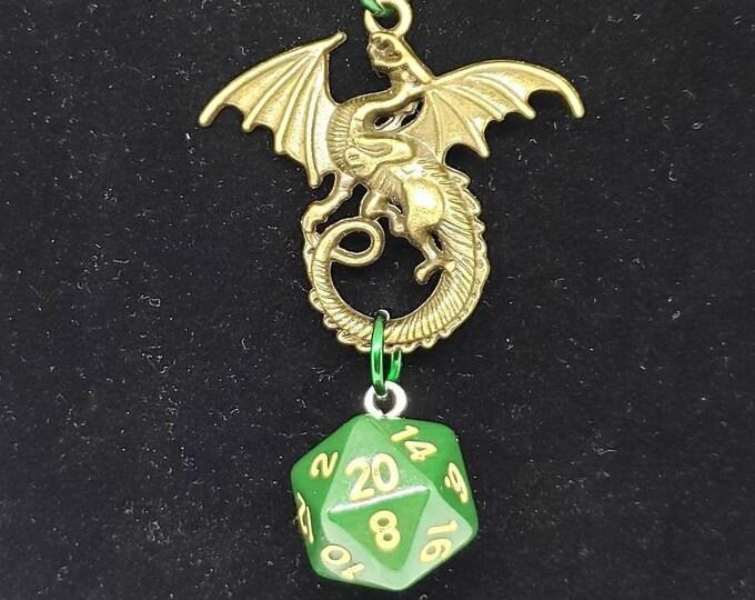 Amulet of the Verdant Dragon Nat 20 Pendant - Dungeons and Dragons Pendant - D&D Dice - Dice Pendant