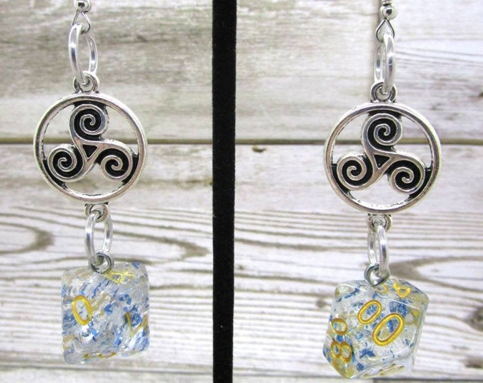 Blue Foil Dice Earrings - Celtic Charm - D10 and D% Earrings - D&D Earrings - DND Earrings - DnD Dice