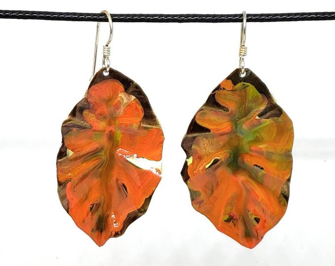 Hand Painted Red and Orange Leaf Copper Earrings- One of a Kind