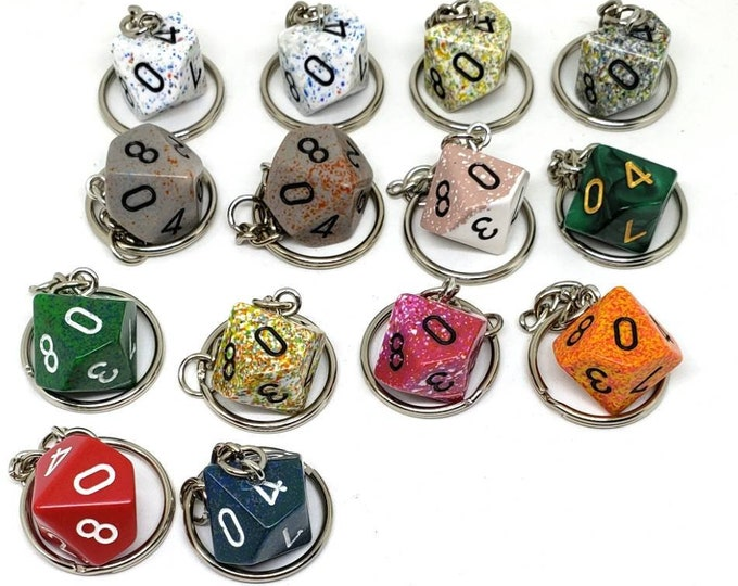 D10 or D% Keychain or Necklace - Dungeons and Dragons Keychain - Dice - 10 Sided Dice - DnD Dice